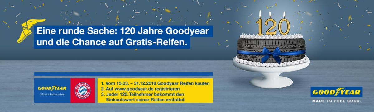 120 Jahre Goodyear und die Chance auf gratis Reifen